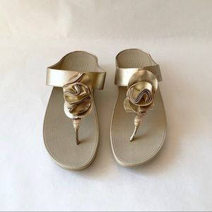 Women's Fitflop Gold Leather Sandals, Size 9